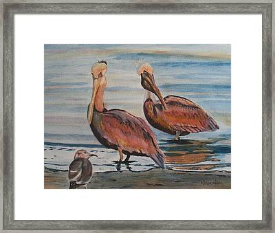 Framed Print featuring the painting Pelican Party by Karen Ilari