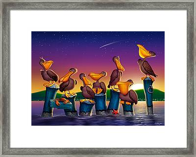 Pelican Sunset Blank Greeting Card Framed Print