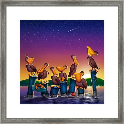 Pelican Sunset Whimsical Cartoon -  Square Format Framed Print