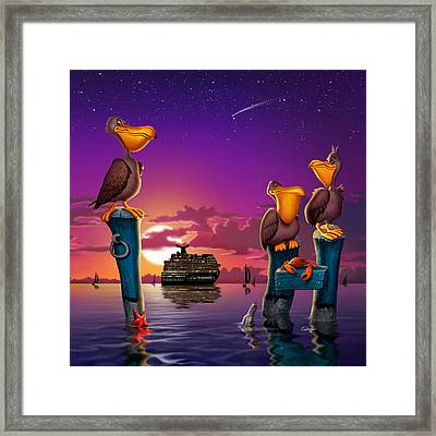 Pelican Sunset Whimsical Cartoon Tropical Birds Florida Seascape - Square Format Framed Print