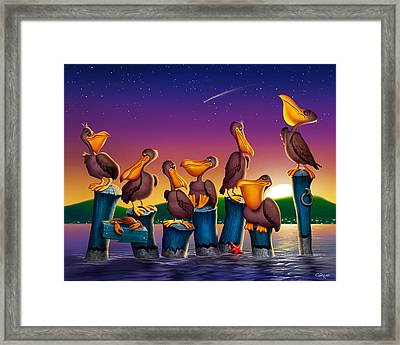 Pelican Sunset Whimsical Cartoon Tropical Birds Seascape Print Blue Orange Purple Yellow Framed Print by Walt Curlee