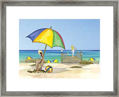 Pelican Under Umbrella Framed Print by Anne Beverley-Stamps