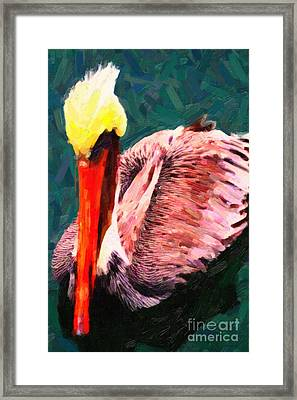 Pelican Wading In Water Framed Print by Wingsdomain Art and Photography