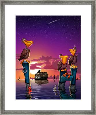 Pelicans On Poles At Sunset Tropical Cartoon Florida Seascape - Vertical Framed Print