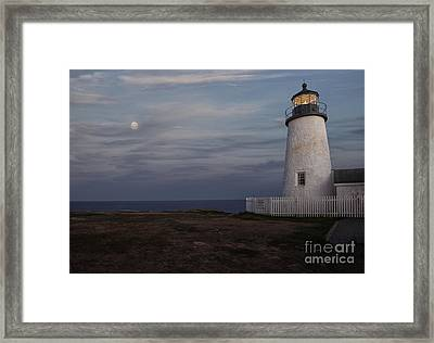Pemaquid And Full Moon Framed Print by Timothy Johnson