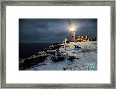 Pemaquid At Night In The Snow Framed Print by Benjamin Williamson