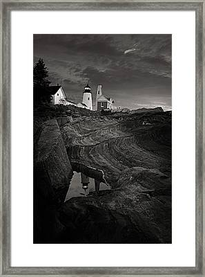 Pemaquid Lighthouse At Dawn Black And White Framed Print