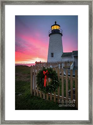 Pemaquid Point Holidays Framed Print by Benjamin Williamson