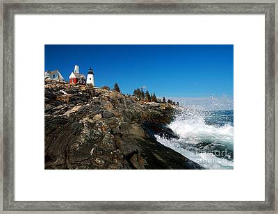 Pemaquid Point Lighthouse - Seascape Landscape Rocky Coast Maine Framed Print