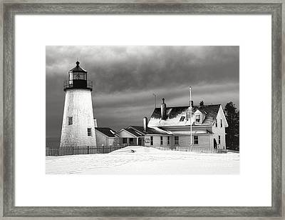 Pemaquid Point Lighthouse And Museum In Winter Monochrome  Framed Print