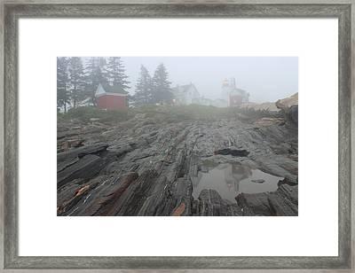 Pemaquid Point Lighthouse Foggy Morning Framed Print by John Burk