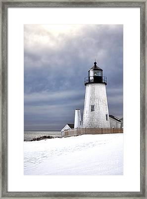 Pemaquid Point Lighthouse In Winter Framed Print