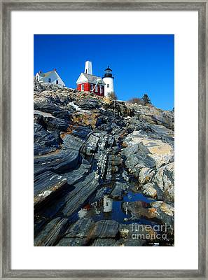 Pemaquid Point Lighthouse Reflection - Seascape Landscape Rocky Coast Maine Framed Print by Jon Holiday