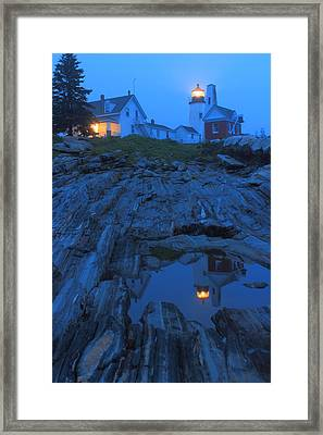 Pemaquid Point Lighthouse Tide Pool At Dusk Framed Print by John Burk