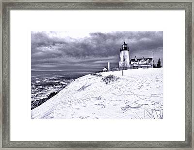 Pemaquid Point Winter Scene Framed Print by Olivier Le Queinec