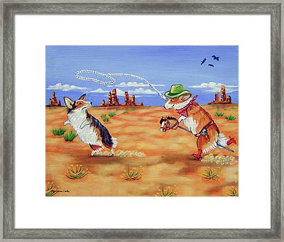 Pembroke Welsh Corgi Opie Gets A Date Framed Print by Lyn Cook