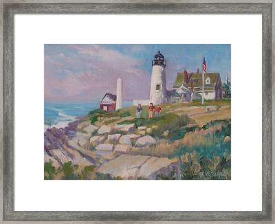 Pemiquid Light Framed Print by Michael McDougall