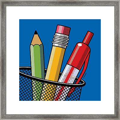 Pen And Pencils Framed Print by Ron Magnes