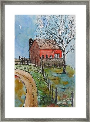 Pen And Watercolor Barn Landscape Framed Print