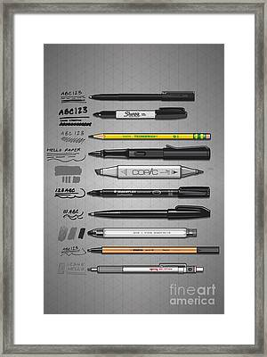 Pen Collection For Sketching And Drawing Framed Print