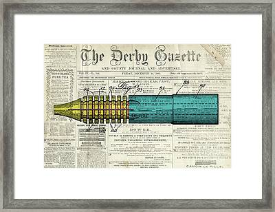 Pen Patent, Year 1939, Classic Patent Drawing On Old Newspaper Framed Print