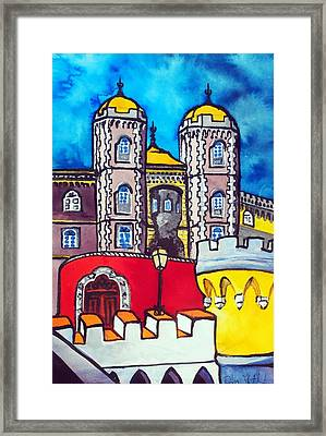 Framed Print featuring the painting Pena Palace In Sintra Portugal  by Dora Hathazi Mendes