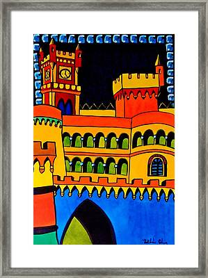Framed Print featuring the painting Pena Palace Portugal by Dora Hathazi Mendes