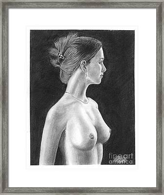 Pencil Drawing Classic Nude Woman Www.olgabell.ca Framed Print by Olga Bell
