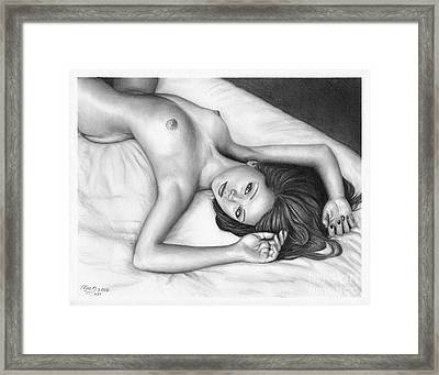 Pencil Drawing Nude Girl Good Morning Www.olgabell.ca Framed Print by Olga Bell