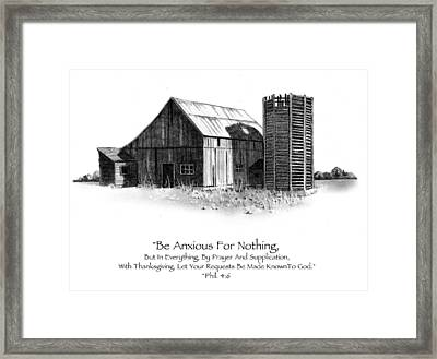 Pencil Drawing Of Old Barn With Bible Verse Framed Print by Joyce Geleynse