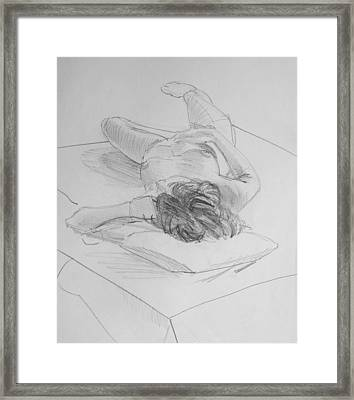Pencil Female Nude Lying On Back  Framed Print by Mike Jory