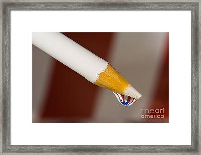 Pencil Flag Drop Framed Print