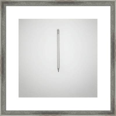 Pencil On A Blank Page Framed Print