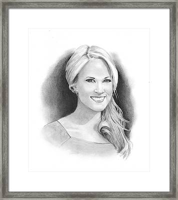 Pencil Portrait Of Carrie Underwood Framed Print