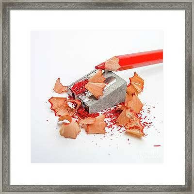 Pencil Sharpener And Red Colour Pencil. Framed Print by Bernard Jaubert
