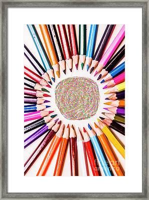 Pencils And Coloured Circles Framed Print by Jorgo Photography - Wall Art Gallery