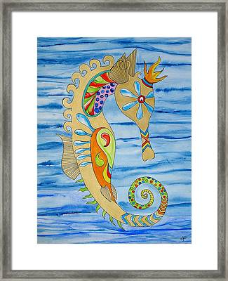 Framed Print featuring the painting Penelope The Seahorse by Erika Swartzkopf