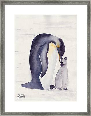 Penguin And Baby Framed Print by Ken Powers