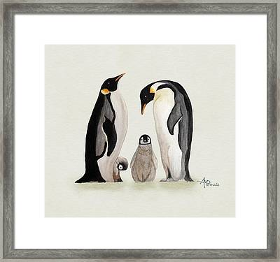 Penguin Family Watercolor Framed Print