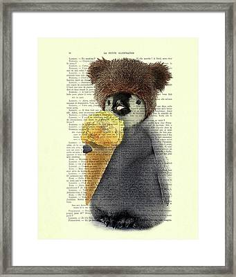 Penguin Ice Cream Framed Print by Madame Memento