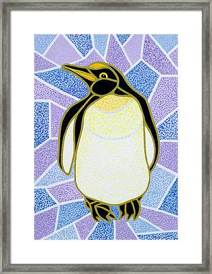 Penguin On Stained Glass Framed Print by Pat Scott