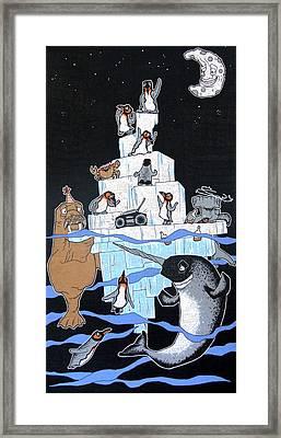 Penguin Party Framed Print by Bizarre Bunny