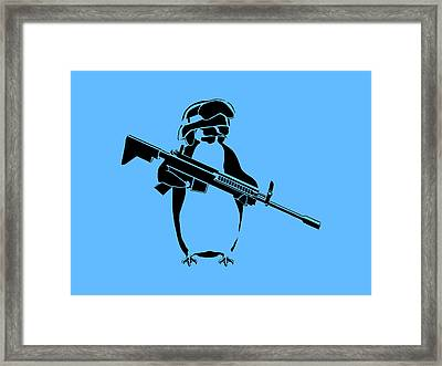 Penguin Soldier Framed Print