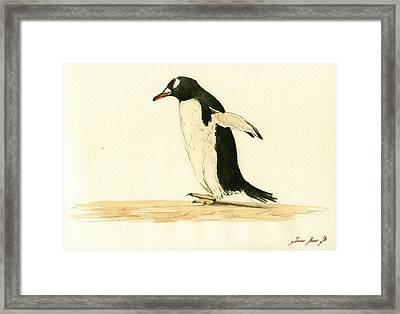 Penguin Walking Framed Print by Juan  Bosco