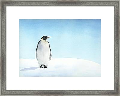Framed Print featuring the painting Penguin Watercolor by Taylan Apukovska