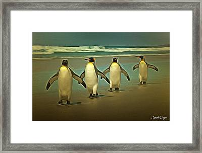 Penguins In The Beach - Da Framed Print