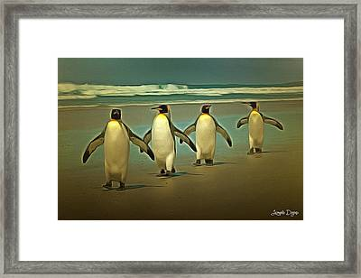 Penguins In The Beach Framed Print