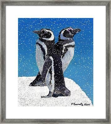 Penguins In The Snow Framed Print