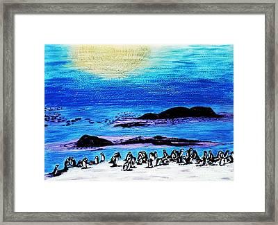 Penguins Land Framed Print