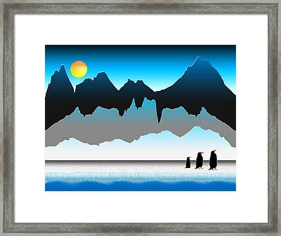 Penguins On The Move Framed Print